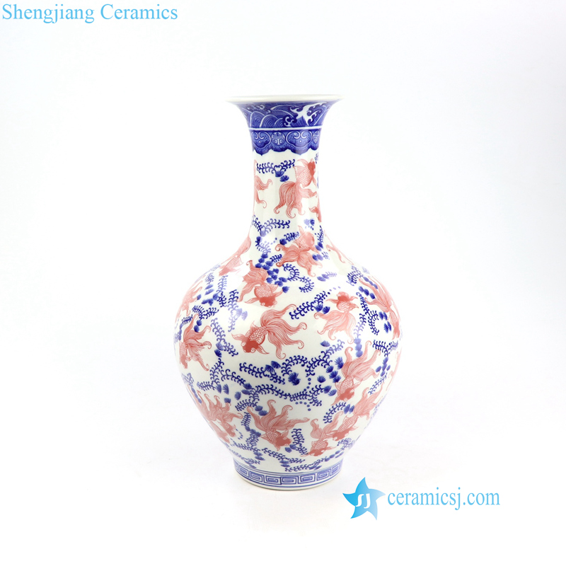 blue red white floral porcelain vase