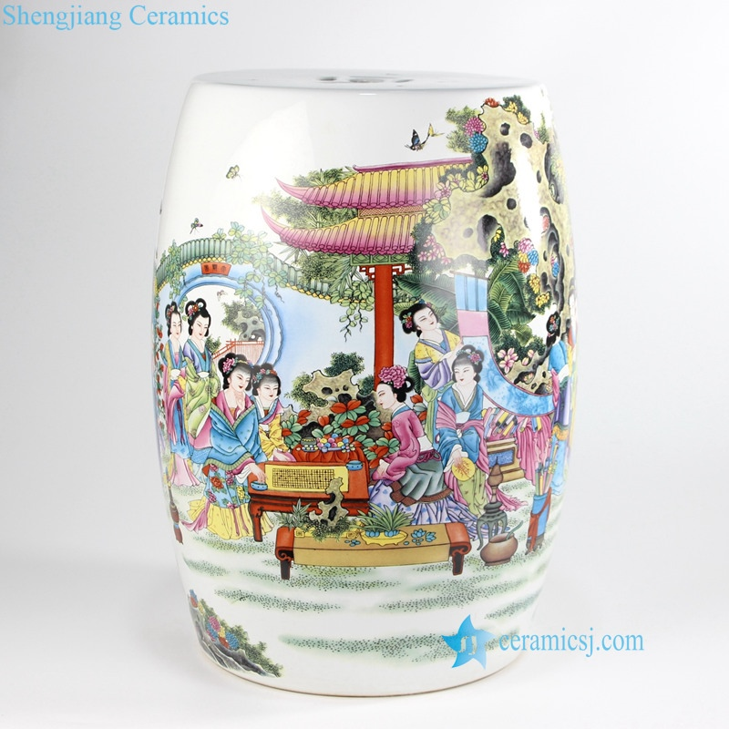 RYIR133-A-H China style peony kid landscape porcelain garden stool