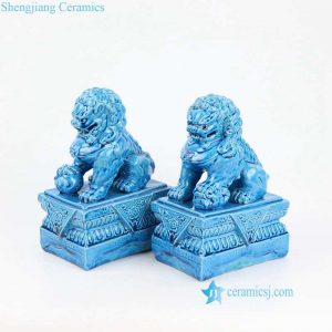 RYJZ18 Blue color China ceramic lion figurine