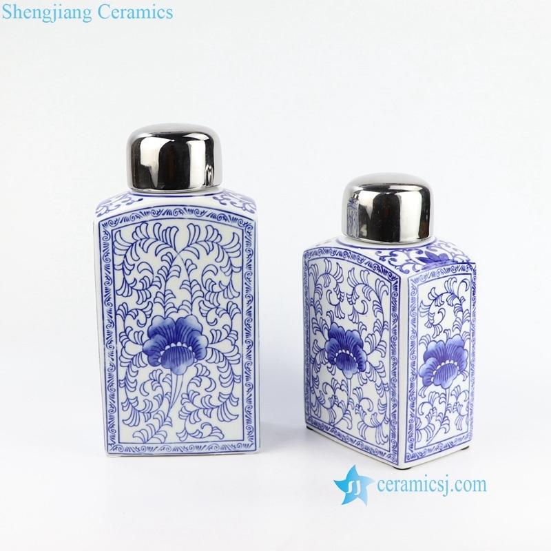 blue floral square jar
