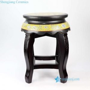 RYYZ13 Famille rose yellow ceramic top seat with wooden frame