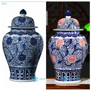 RZFQ26-AB Jingdezhen traditional interlock lotus porcelain ginger jar for collection