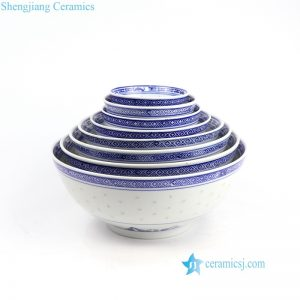 RZKG01 Rice hole blue dragon pattern Old Jingdezhen set of 8 ceramic bowls