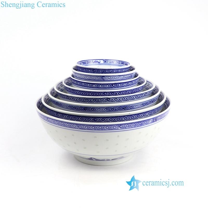 RZKG01 Rice hole blue dragon pattern Old Jingdezhen set of 8 ceramic bowls