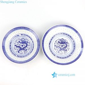 RZKG05 Blue and white carved rice hole dragon pattern China style ceramic plate