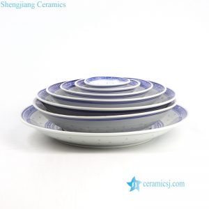 RZKG06 Set of 7 dragon pattern Jingdezhen rice hole design ceramic plates