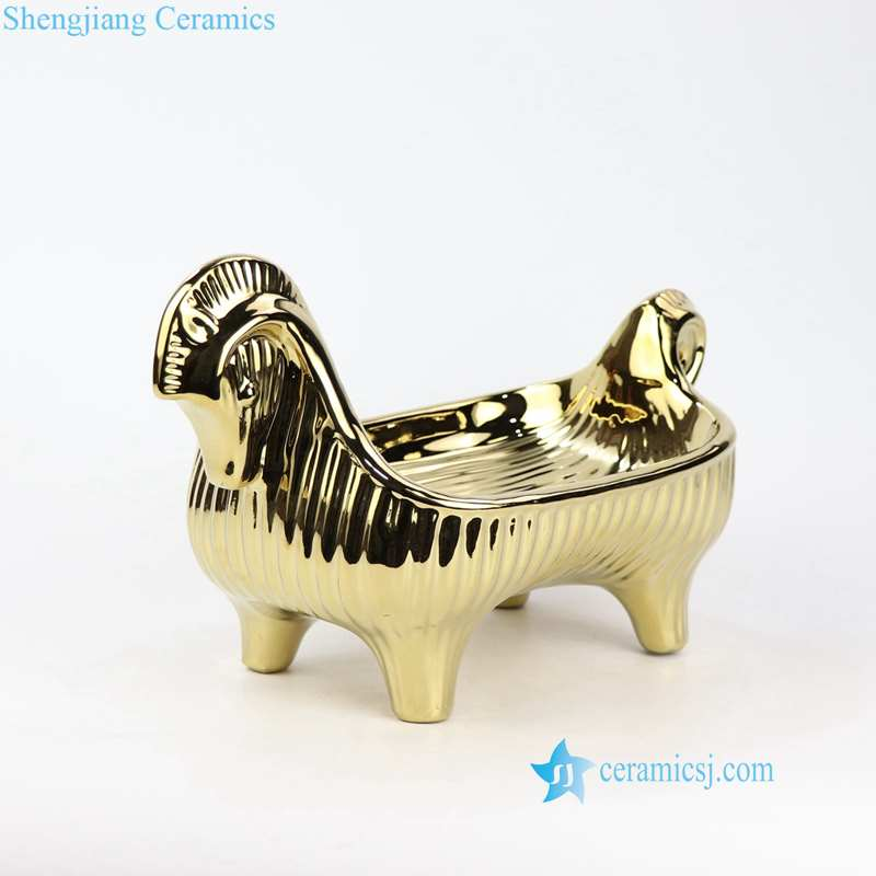 ceramic golden horse tray