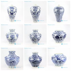 RZNI08-16 Blue and white yuan dynasty China antique reproduction floral dragon phoenix porcelain vase