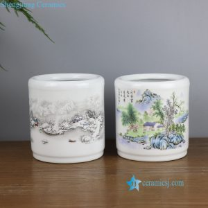 RZNZ01-AB Spring and winter landscape ceramic pen holder