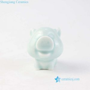 RZOA01 Light green mini wide boar ceramic figurine