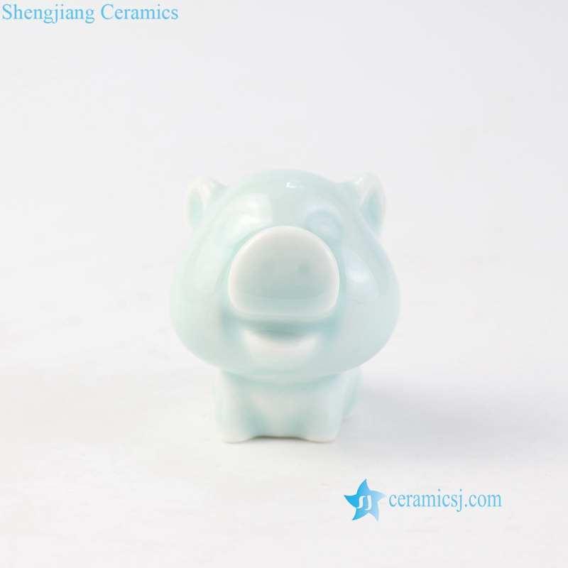 wide boar ceramic figurine