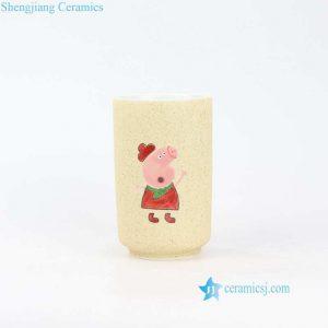 RZOC02 Jingdezhen ceramic avenue artisan hand painted Peppa Pig ceramic cup