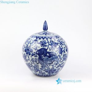 RZOE01 Hand painted drak blue old color kylin ceramic jar