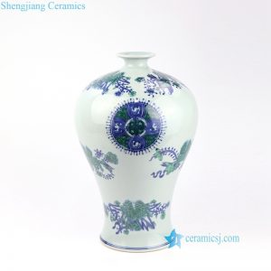RZOE02 Blue and green hand painted high end ceramic vase with small mouth