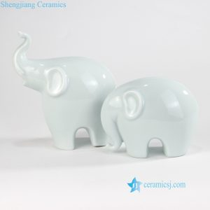RZOF03 China green mother and son elephants ceramic figurines