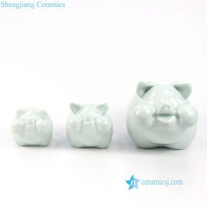 RZOG01 Set of 3 green ceramic pig statues