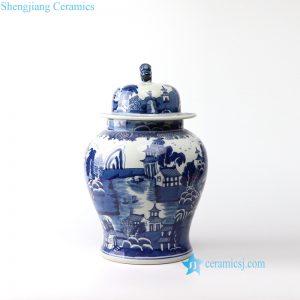 RYLU157 Jingdezhen delicate hand paint water town ceramic jar