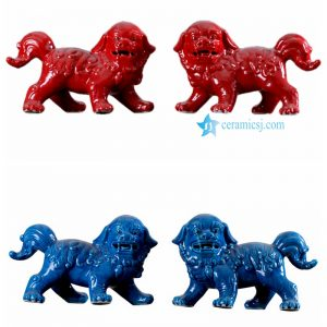 RYPU50-AB Red blue color ceramic lion figurine
