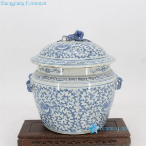 RYVM36 China antique style fabled toad lid floral ceramic jar