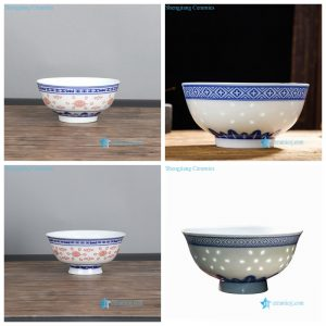 RYYY412-AB Blue and white red color rice pattern ceramic bowl