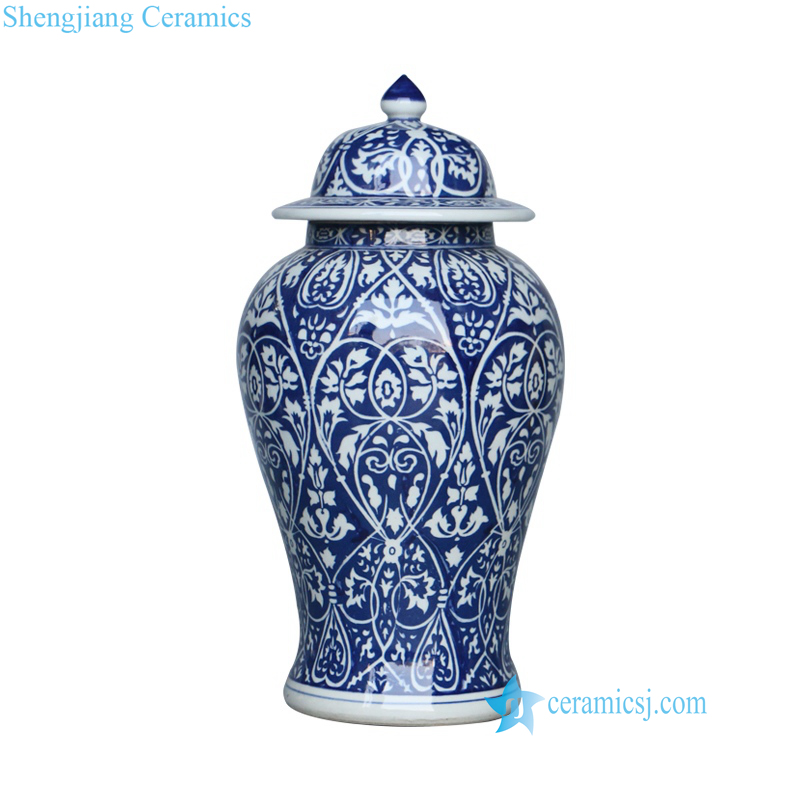 Blue and white floral ceramic vase