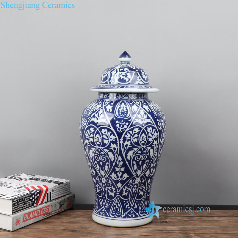 RYZS56-ABC Blue and white hand painted Monaco style floral ceramic vase