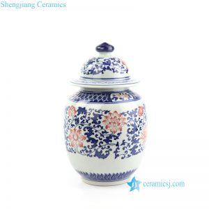 RZBV06 Small size blue red and white ceramic jar