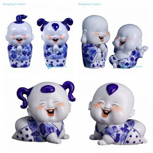 RZGB078 14 Smiling kids blue and white ceramic figurines