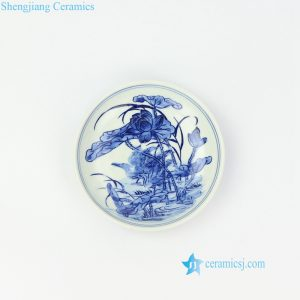 RZIQ10 Blue and white wild duck in lotus pond ceramic plate