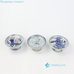 RZIQ11 Blue red and white royal style ceramic fruit holder