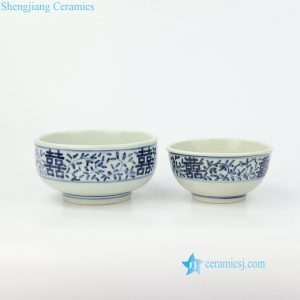 RZIQ145   Hand painted double happiness ceramic bowl for wedding