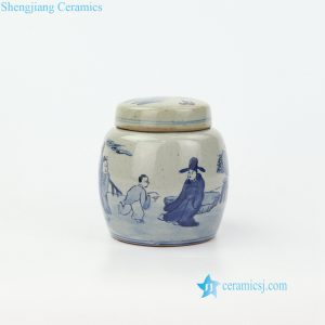 RZIQ17 High hand paint skill ancient China scholars and students pattern ceramic jar