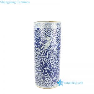 RZKT09-B Hand drawing blue and white phoenix ceramic umbrella stand