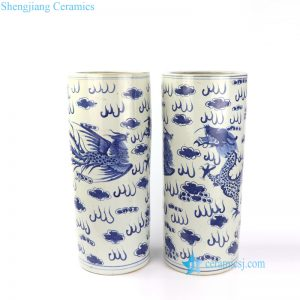 RZKT09-C Dragon phoenix cloud design hand painted ceramic umbrella stand