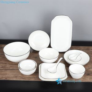 RZOB01-13 Modern luxury black rim white ceramic dinnerware set