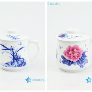 RZOH01-AB Jingdezhen traditional hand painted peony orchid pattern pottery office cup