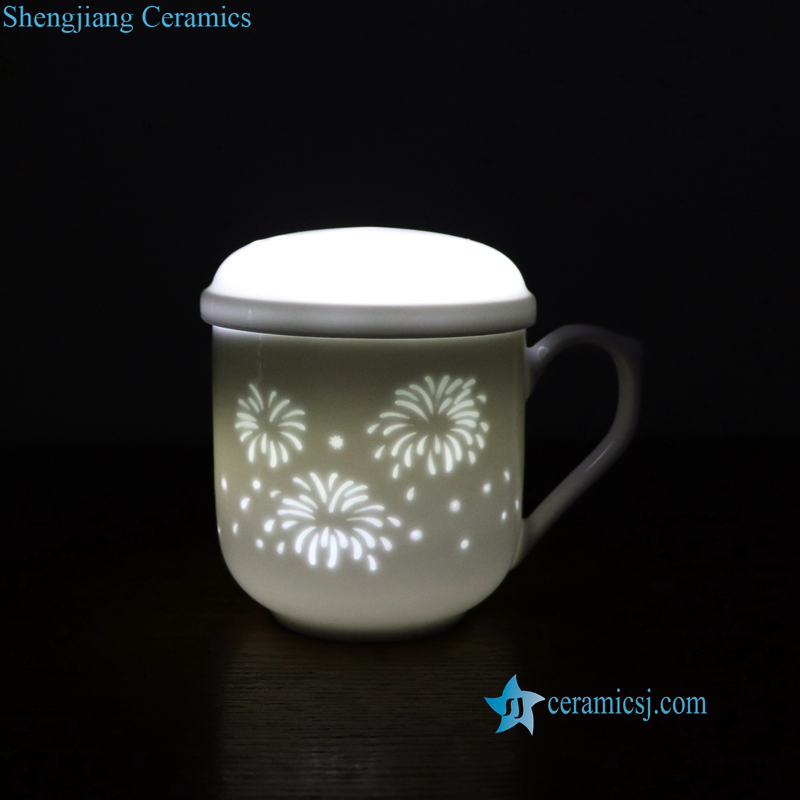 carved fire work ceramic cup