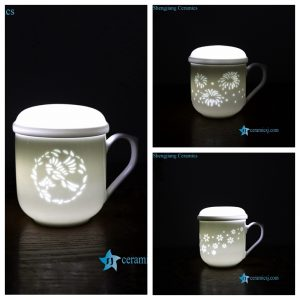 RZOJ01-ABC Hand carved Jingdezhen unique skill transparent hole porcelain tea cup