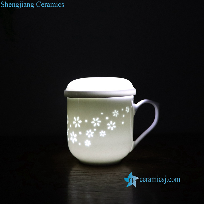 carved porcelain cherry blossom cup