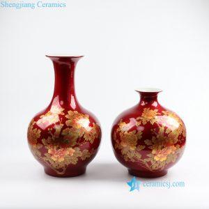 RZOK01-AB Red shinny crystal glaze gold peony porcelain vase