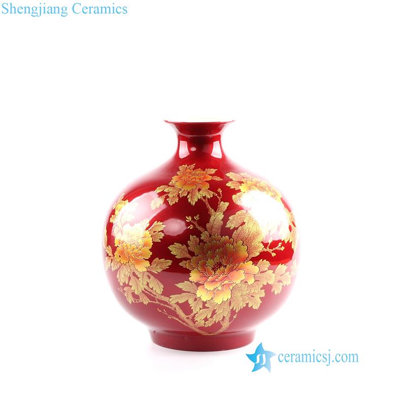 crystal glaze gold peony porcelain vase