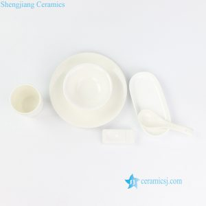 RZOL01-06 Pure white personal ceramic dinnerware set