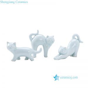 RZOM01 Light green color set of 3 cute ceramic cats statues