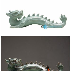 RZON02 Green dragon ceramic figurine as pen rack