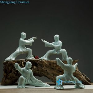 RZON03 Celadon glaze porcelain practice Chinese shadow boxing statues