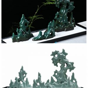 RZON045 Pure hand made craft ceramic green mountain statue