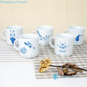RZOO01 Cute forest animal pattern hand painted porcelain tea mug