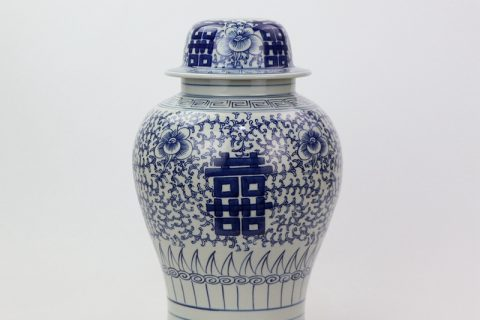 DS-RYWD22 Blue and white ceramic double happy jar body lamp