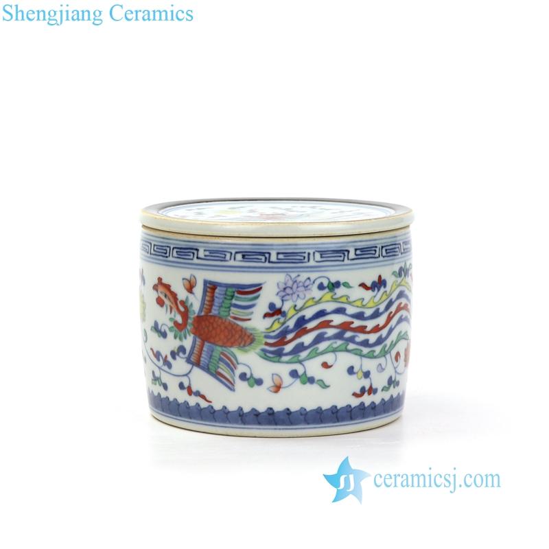 RYAS149 Underglaze five color phoenix ceramic jar