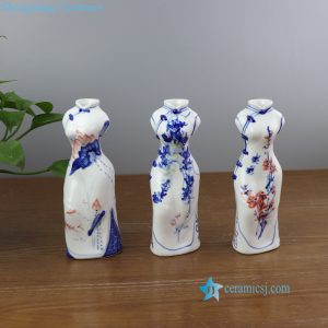 RYBZ165 Blue and white hand painted floral China lady body shape ceramic vase